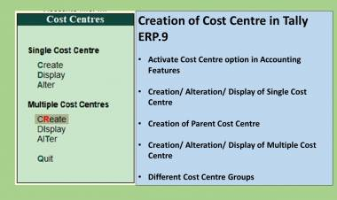 Creation of Single & Multiple Cost Centres in Tally ERP.9
